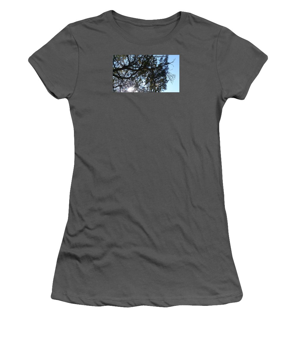 Sunshine Women's T-Shirt (Athletic Fit) featuring the photograph Sunshine Passes Pine by Furkan Bicer
