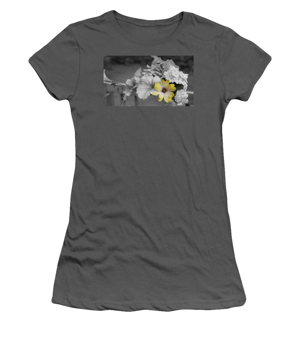 African Daisy Women's T-Shirt (Athletic Fit) featuring the photograph Sunshining Yellow by Nancie DeMellia