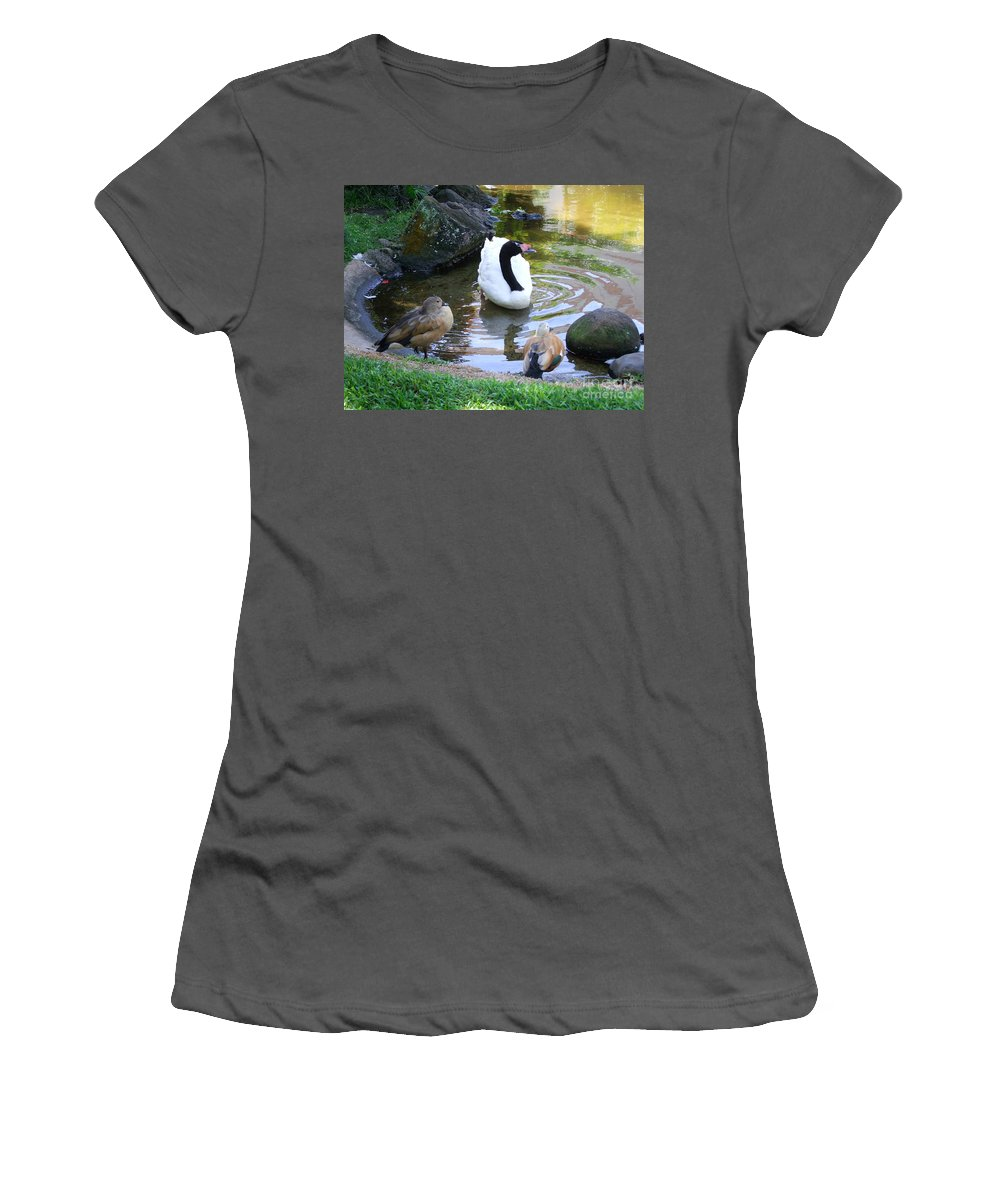 Birds Women's T-Shirt (Athletic Fit) featuring the photograph Swan And Wood Ducks by Mary Deal