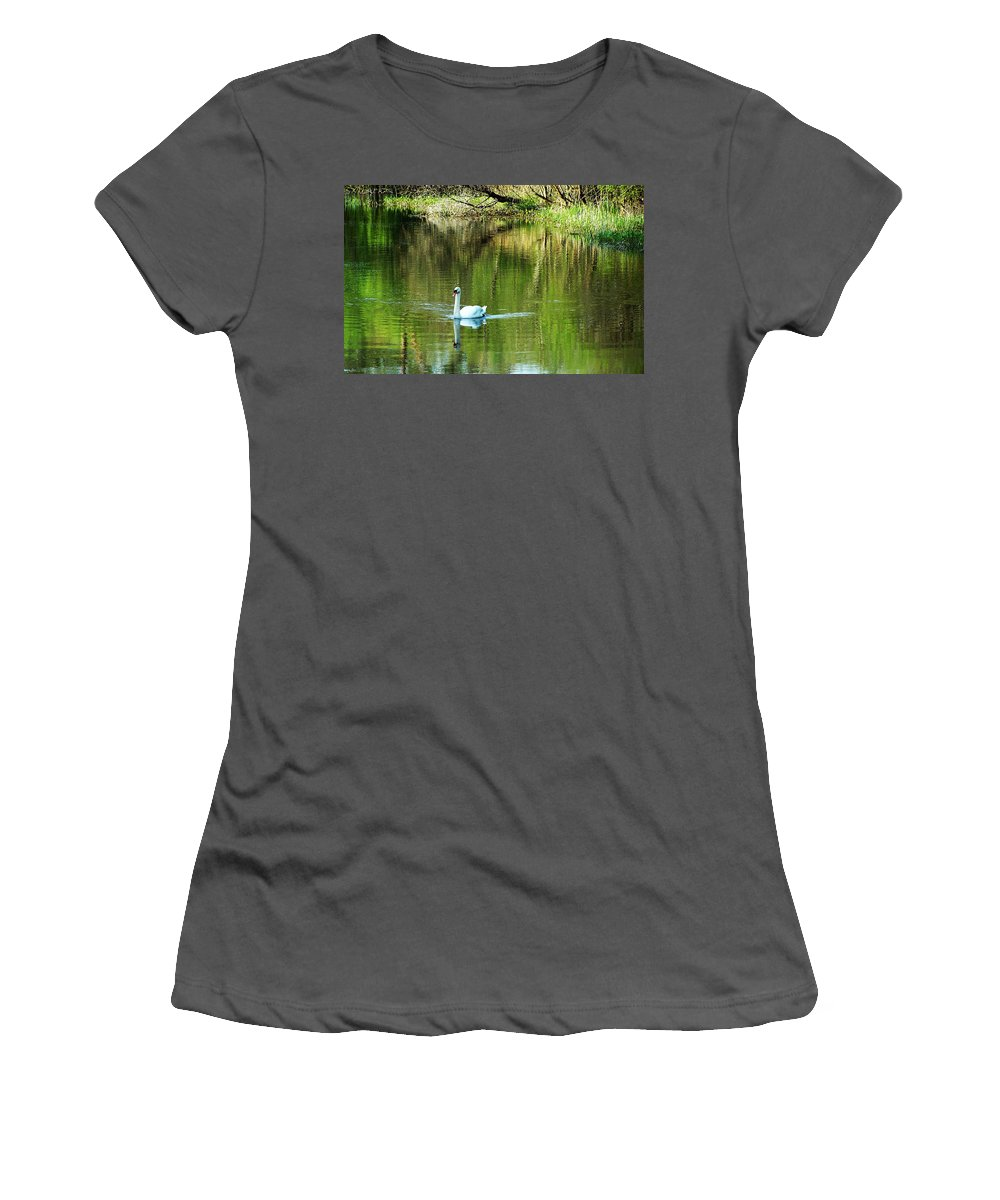 Irish Women's T-Shirt (Athletic Fit) featuring the photograph Swan On The Cong River Cong Ireland by Teresa Mucha