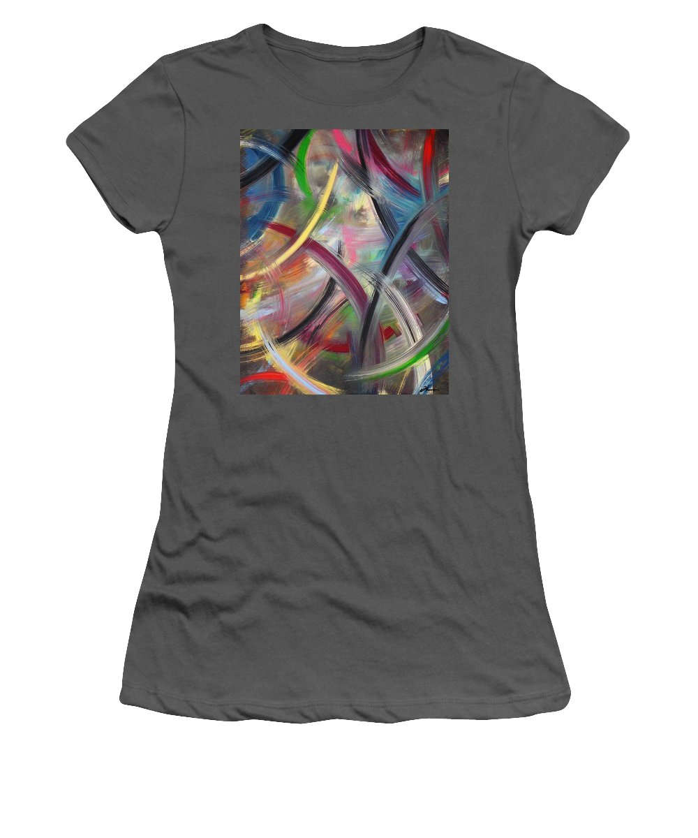 Acrylic Women's T-Shirt (Athletic Fit) featuring the painting Swish by Todd Hoover