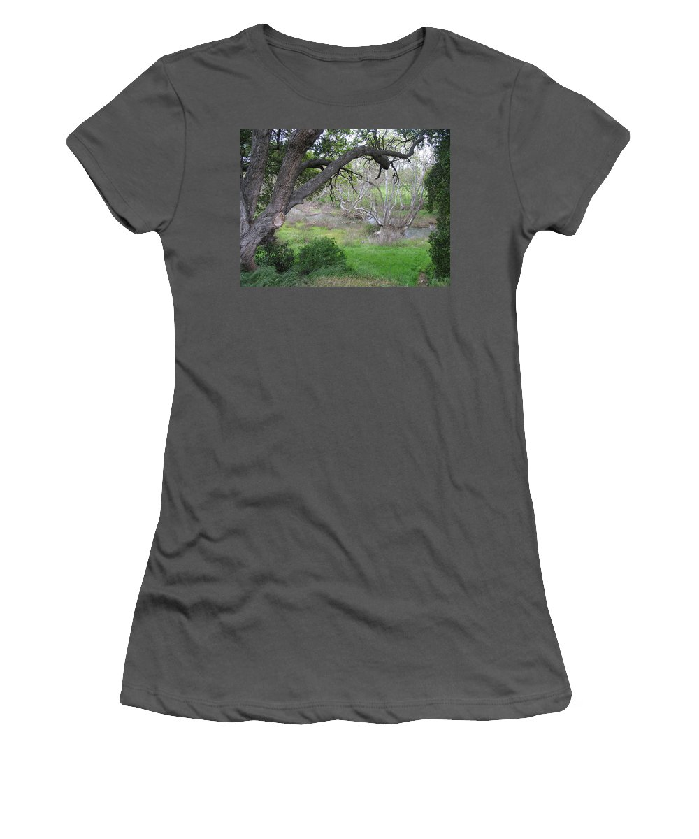 Landscape Women's T-Shirt (Athletic Fit) featuring the photograph Sycamore Grove by Karen W Meyer