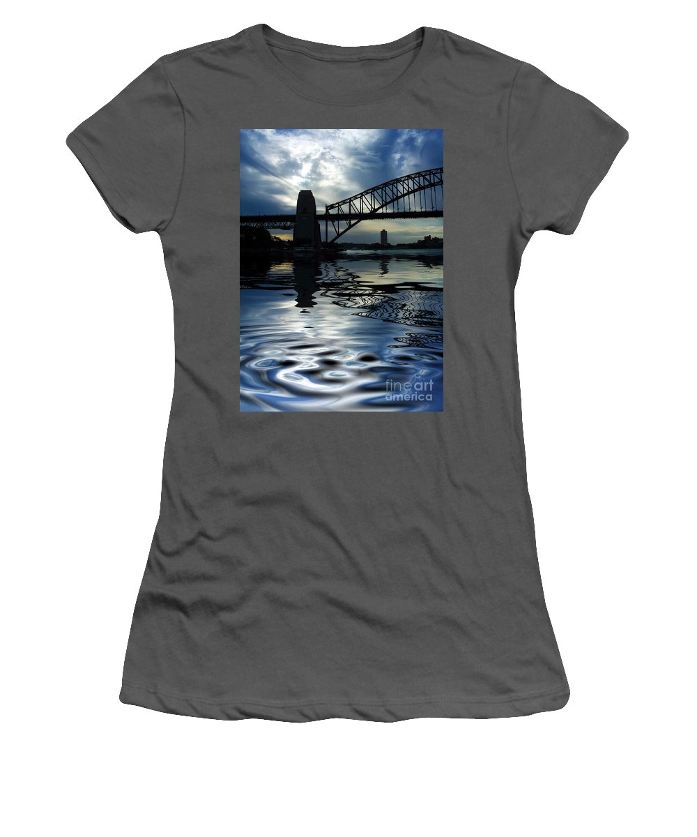 Sydney Harbour Australia Bridge Reflection Women's T-Shirt (Athletic Fit) featuring the photograph Sydney Harbour Bridge Reflection by Avalon Fine Art Photography
