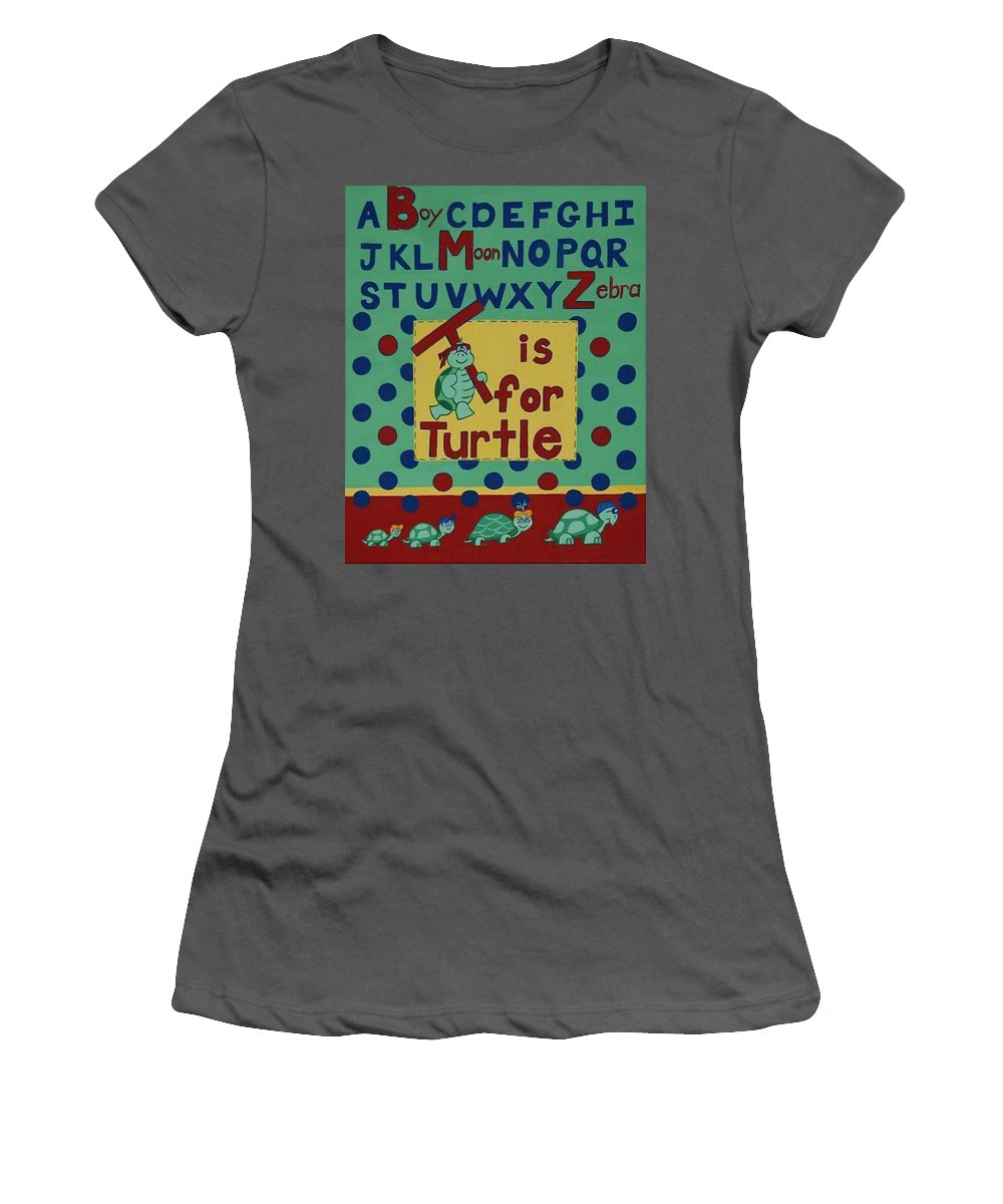 Alphabet Women's T-Shirt (Athletic Fit) featuring the painting T Is For Turtle by Valerie Carpenter