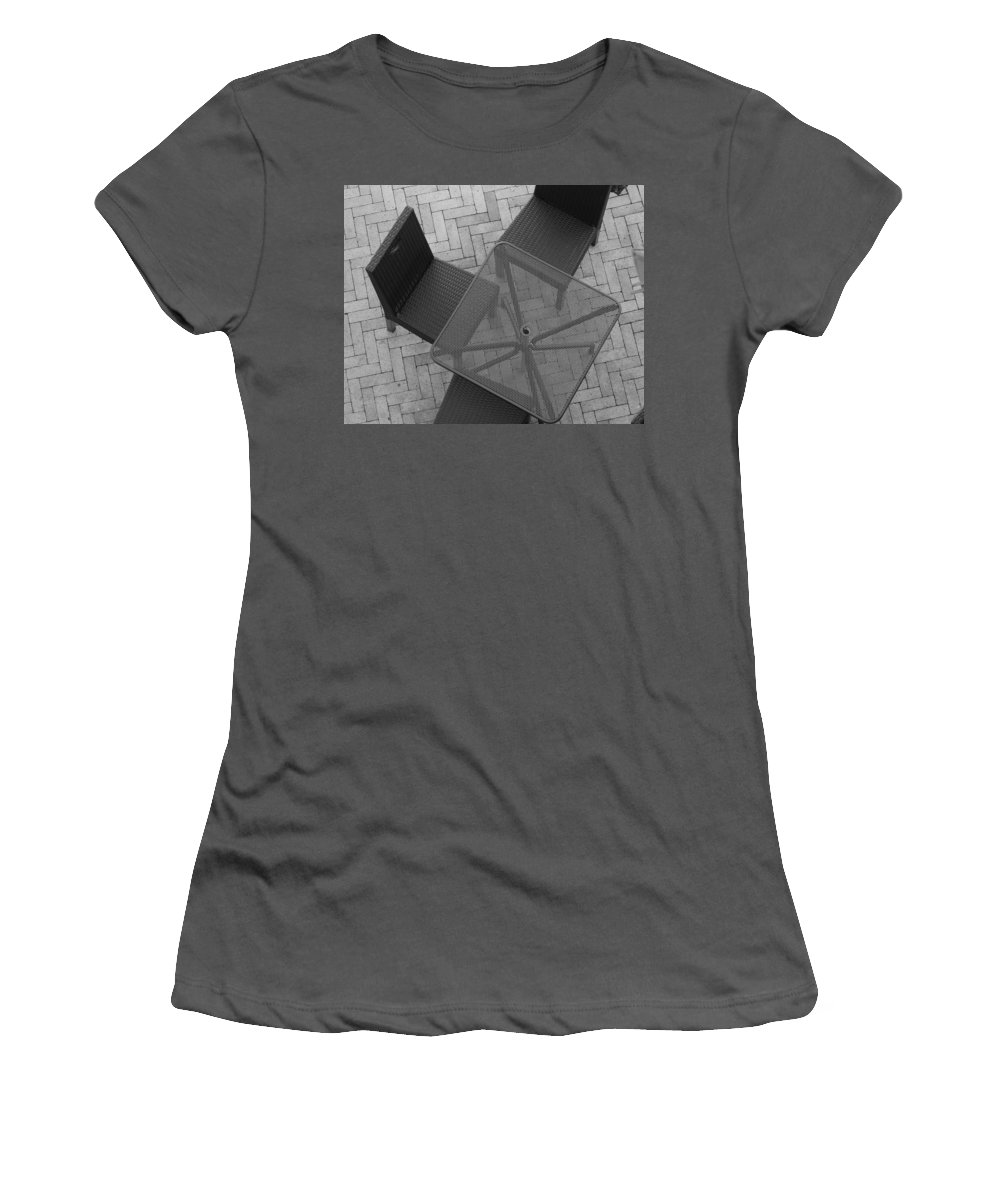 Table Women's T-Shirt (Athletic Fit) featuring the photograph Table Chairs From Above by Rob Hans