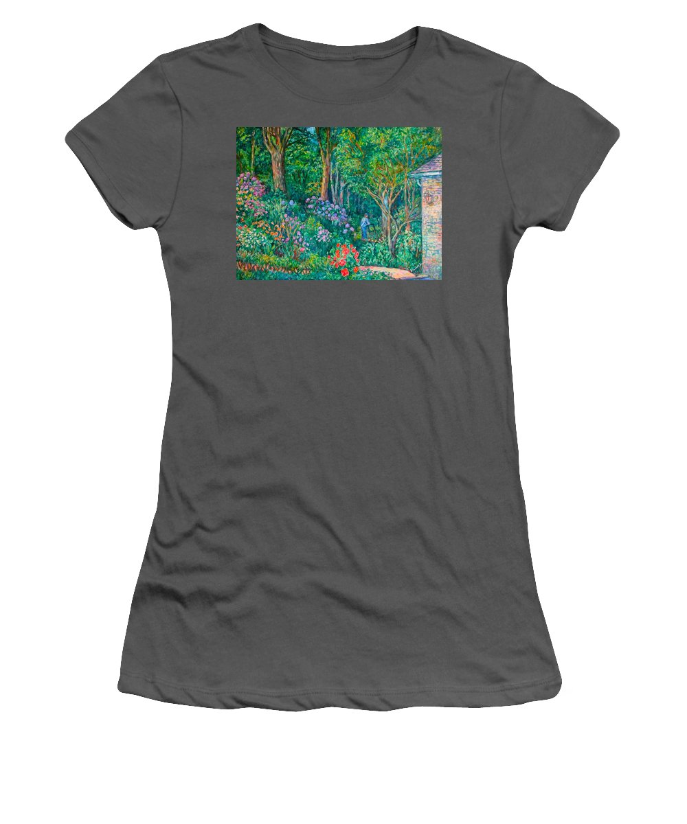 Suburban Paintings Women's T-Shirt (Athletic Fit) featuring the painting Taking A Break by Kendall Kessler