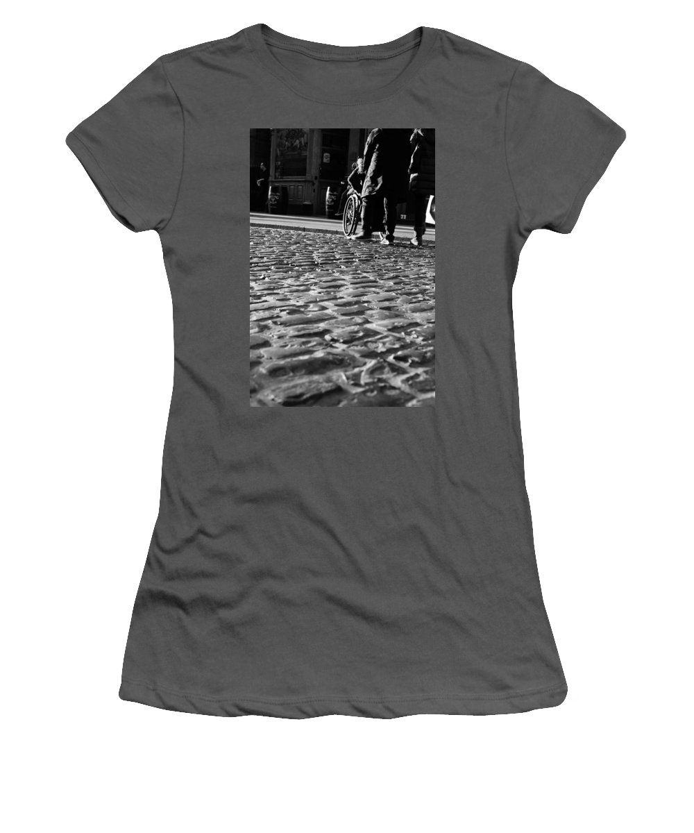 Water Women's T-Shirt (Athletic Fit) featuring the photograph Taking On The Cobbles by James Fitzpatrick