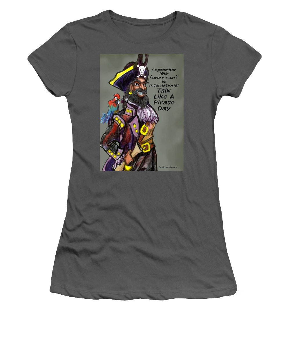 Pirate Women's T-Shirt (Athletic Fit) featuring the greeting card Talk Like A Pirate Day by Kevin Middleton