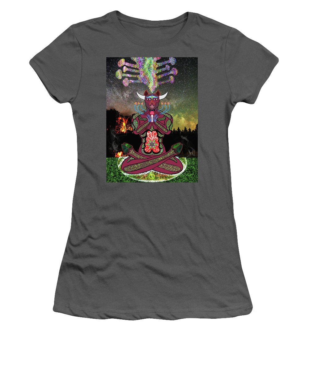 Zodiac Women's T-Shirt (Athletic Fit) featuring the digital art Taurus -psychedelic Zodiac by Myztico Campo