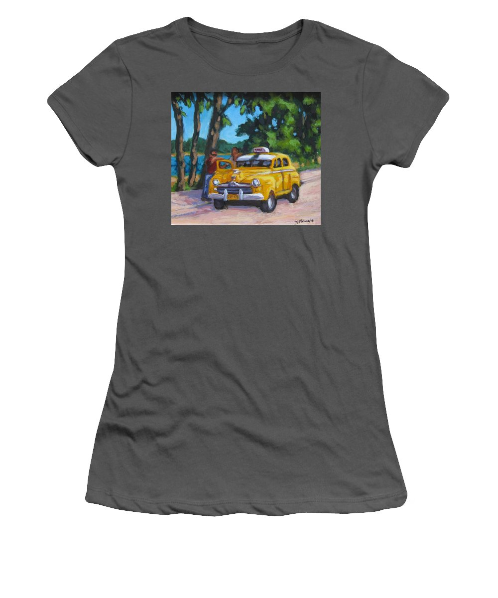 Old Cars Women's T-Shirt (Athletic Fit) featuring the painting Taxi Y Amigos by John Malone