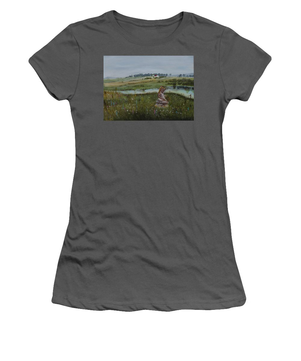 Impression Women's T-Shirt (Athletic Fit) featuring the painting Tender Blossom - Lmj by Ruth Kamenev