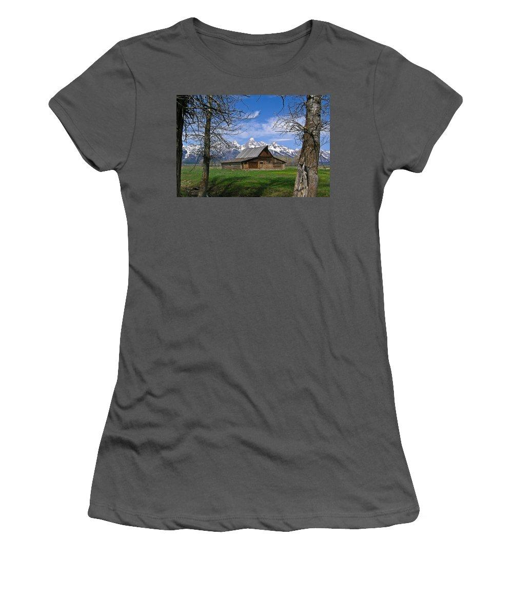 Teton Women's T-Shirt (Athletic Fit) featuring the photograph Teton Barn by Douglas Barnett