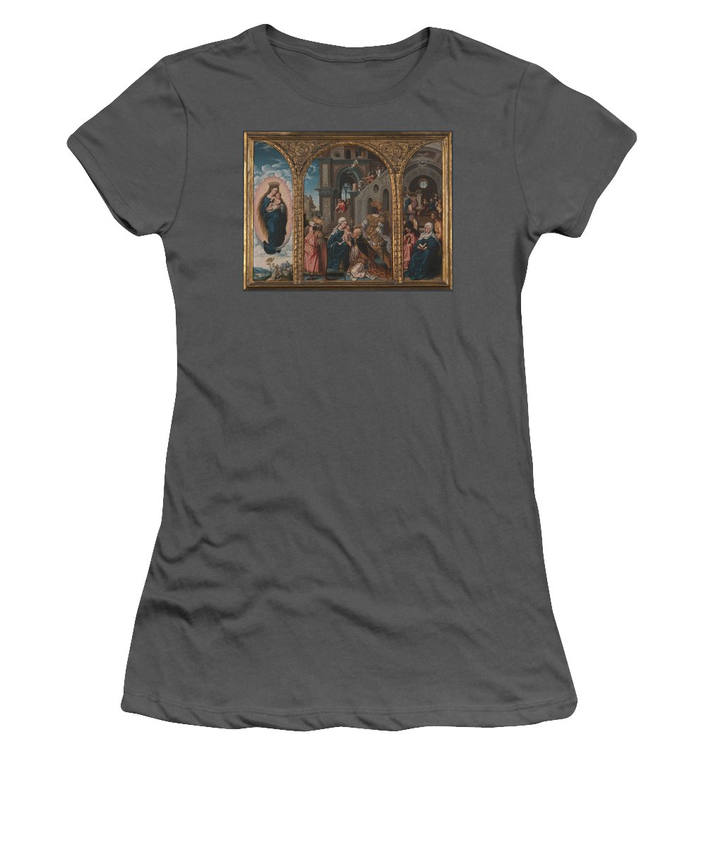 Circle Women's T-Shirt (Athletic Fit) featuring the digital art The Adoration Of The Kings by PixBreak Art
