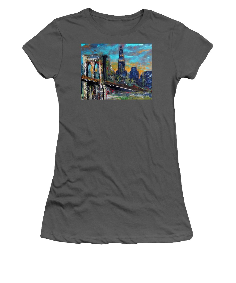 Bridges Women's T-Shirt (Athletic Fit) featuring the painting The Brooklyn Bridge by Frances Marino