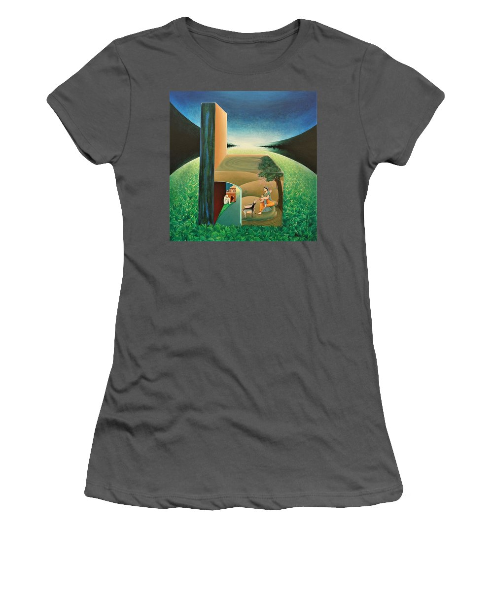 Romantic Women's T-Shirt (Athletic Fit) featuring the painting The Chair - A by Raju Bose