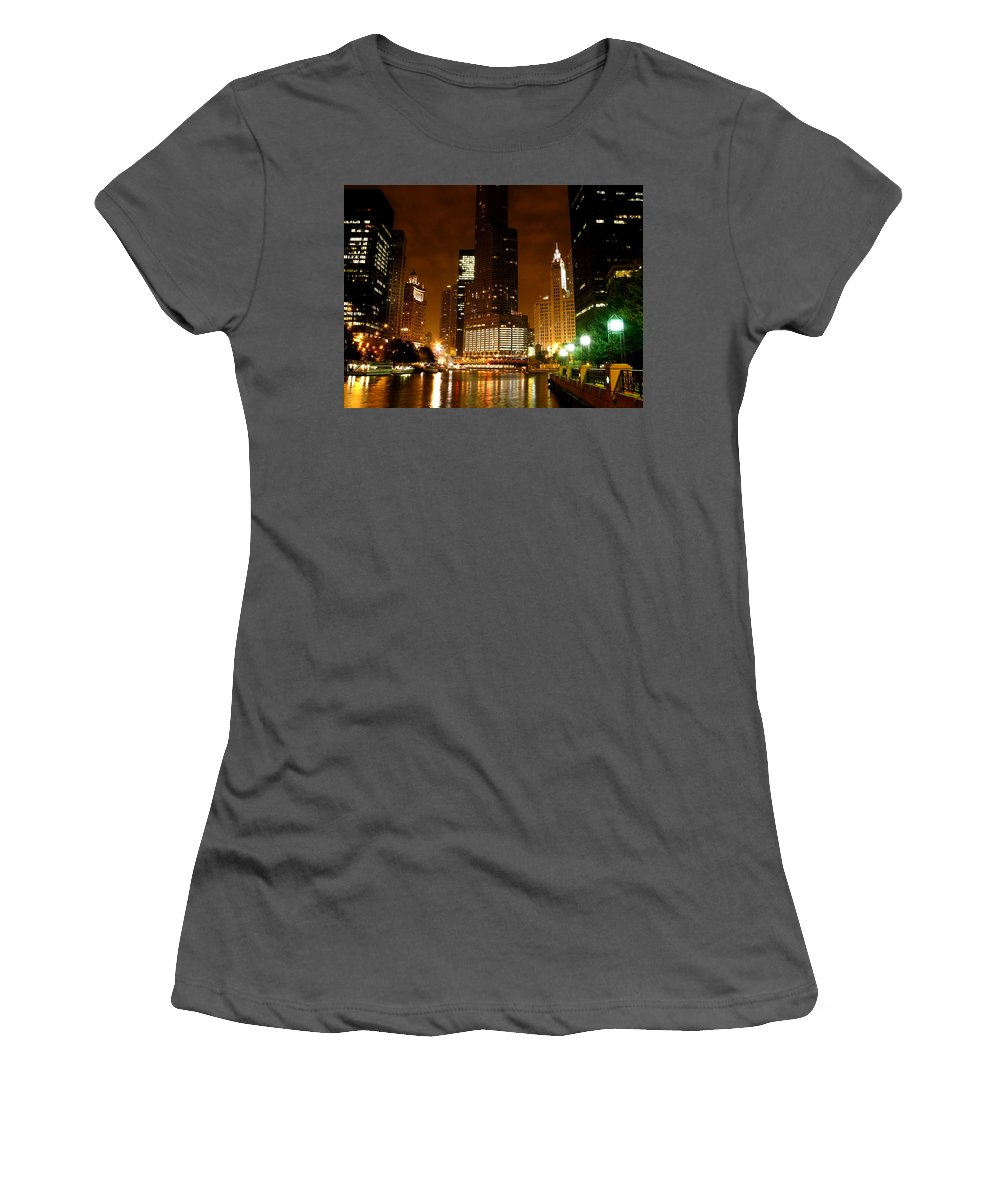 Water Women's T-Shirt (Athletic Fit) featuring the photograph The Chicago River At Night by Dave Sribnik