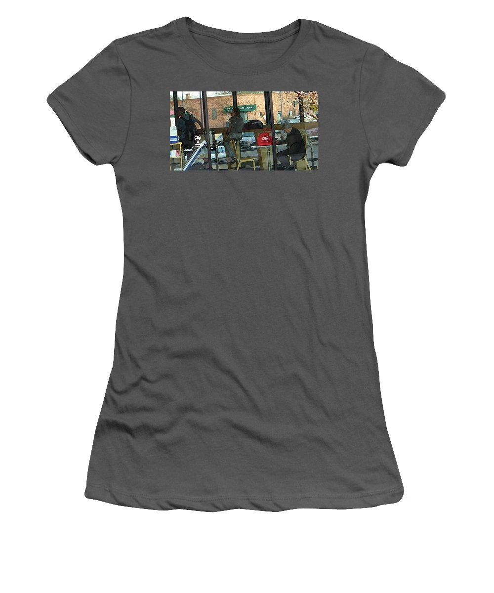 Abstract Women's T-Shirt (Athletic Fit) featuring the digital art The Coffee Shop by Lenore Senior