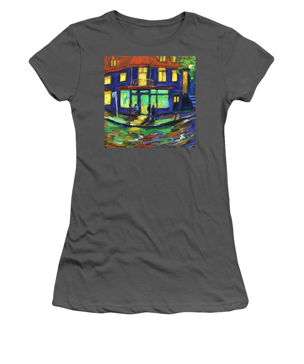 Town Women's T-Shirt (Athletic Fit) featuring the painting The Corner Store by Richard T Pranke