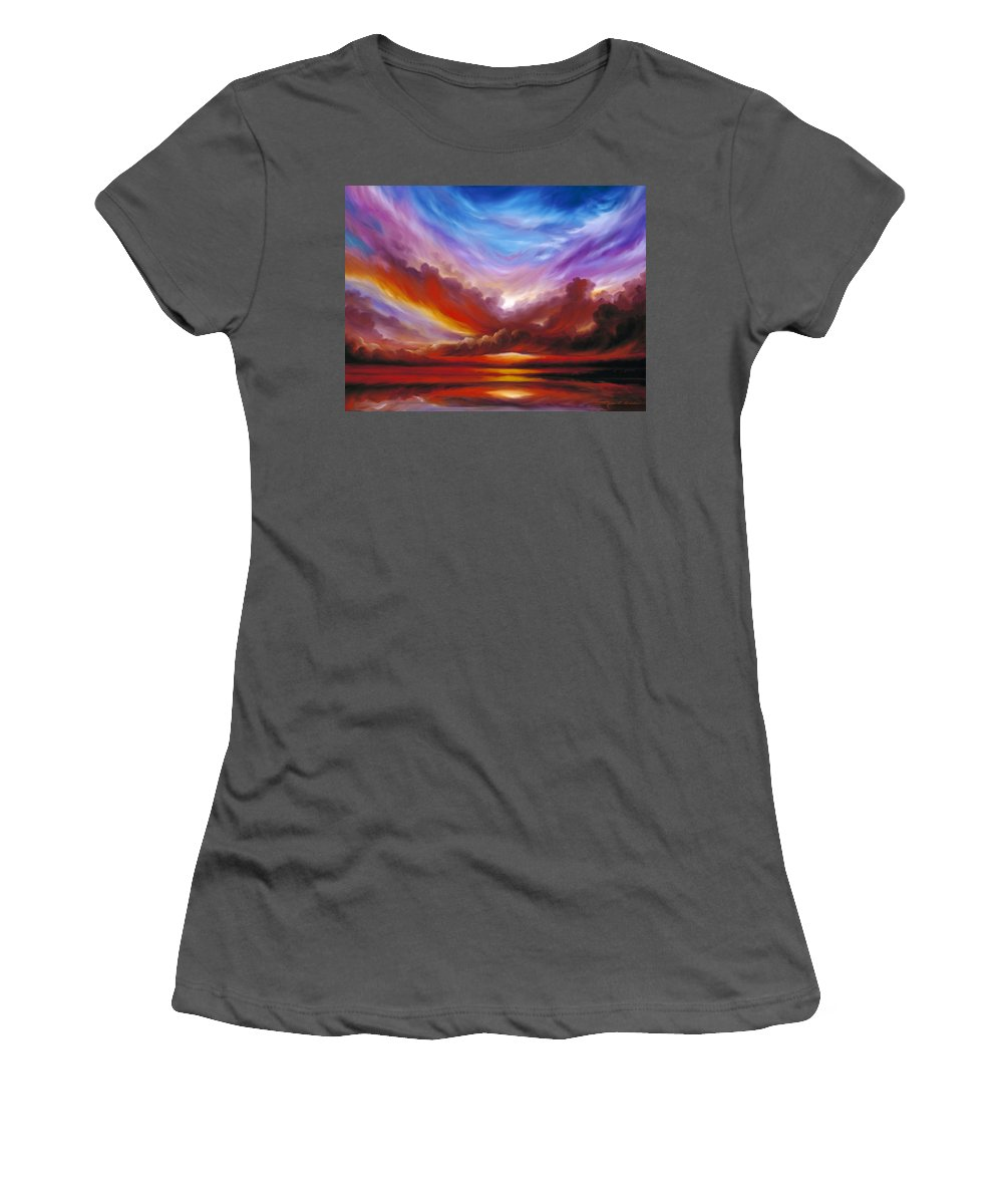Skyscape Women's T-Shirt (Athletic Fit) featuring the painting The Cosmic Storm II by James Christopher Hill