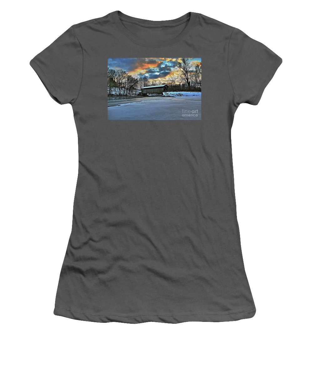 Covered Bridge Old Lumber 1870s Art Snow Winter Landscape Artistic Women's T-Shirt (Athletic Fit) featuring the photograph The Covered Bridge by Robert Pearson