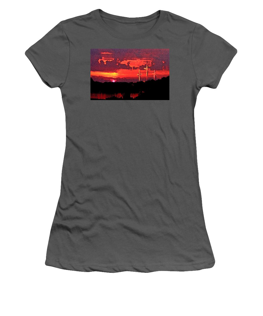 Abstract Women's T-Shirt (Athletic Fit) featuring the painting The Crucifixtion by Rachel Christine Nowicki