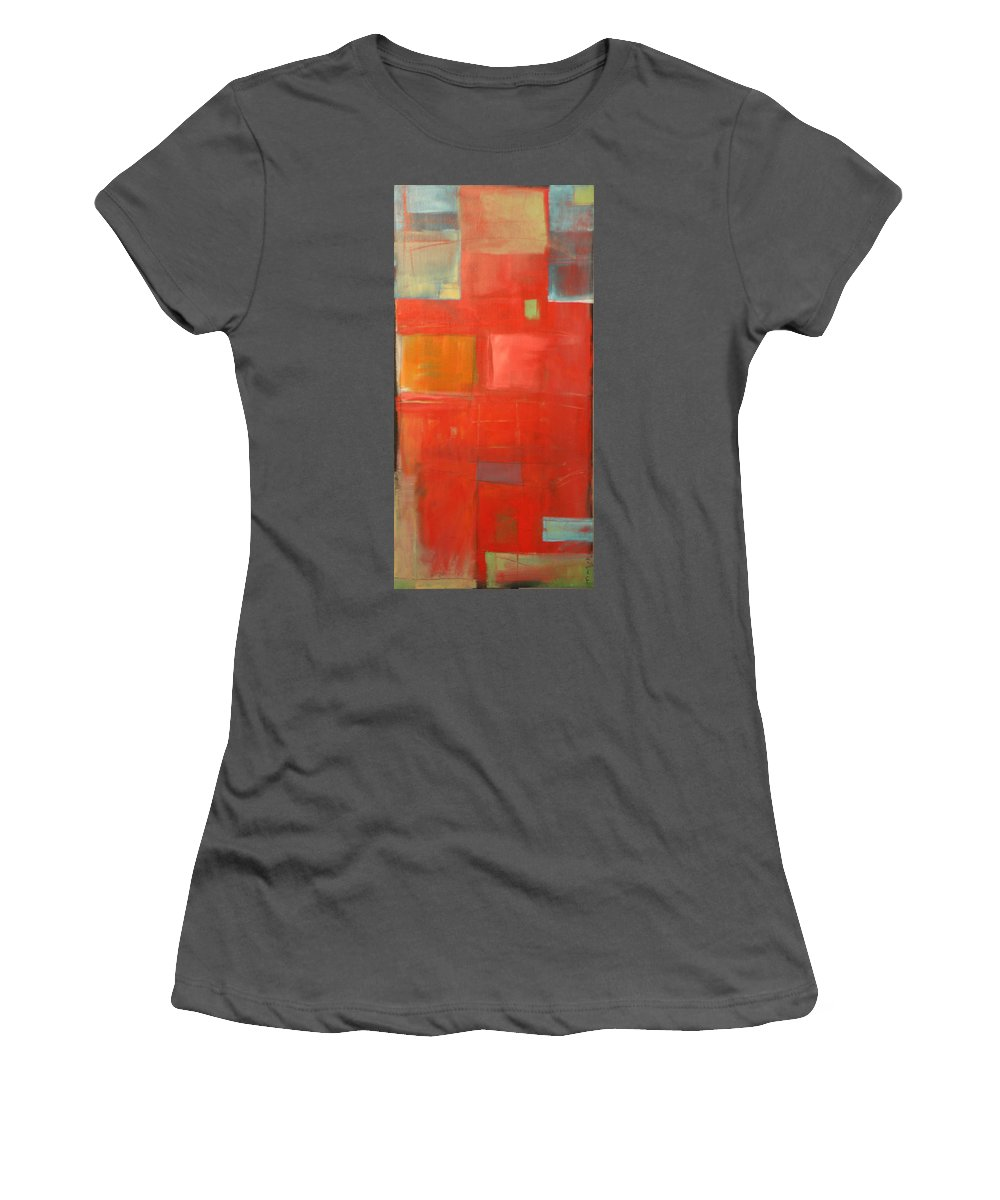 Red Women's T-Shirt (Athletic Fit) featuring the painting The Day Tim Russert Died by Tim Nyberg