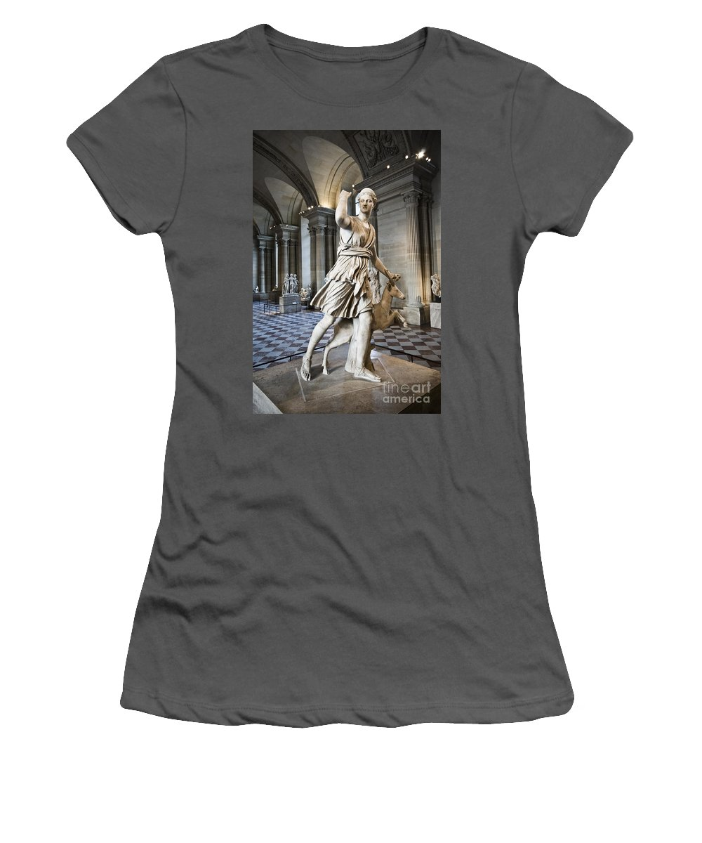 Women's T-Shirt (Athletic Fit) featuring the photograph The Diana Of Versailles In The Louvre by Charuhas Images