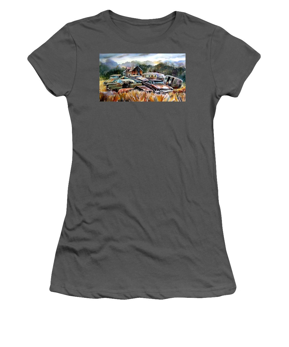 Old Wrecked Cars Women's T-Shirt (Athletic Fit) featuring the painting The Donor Cars by Ron Morrison