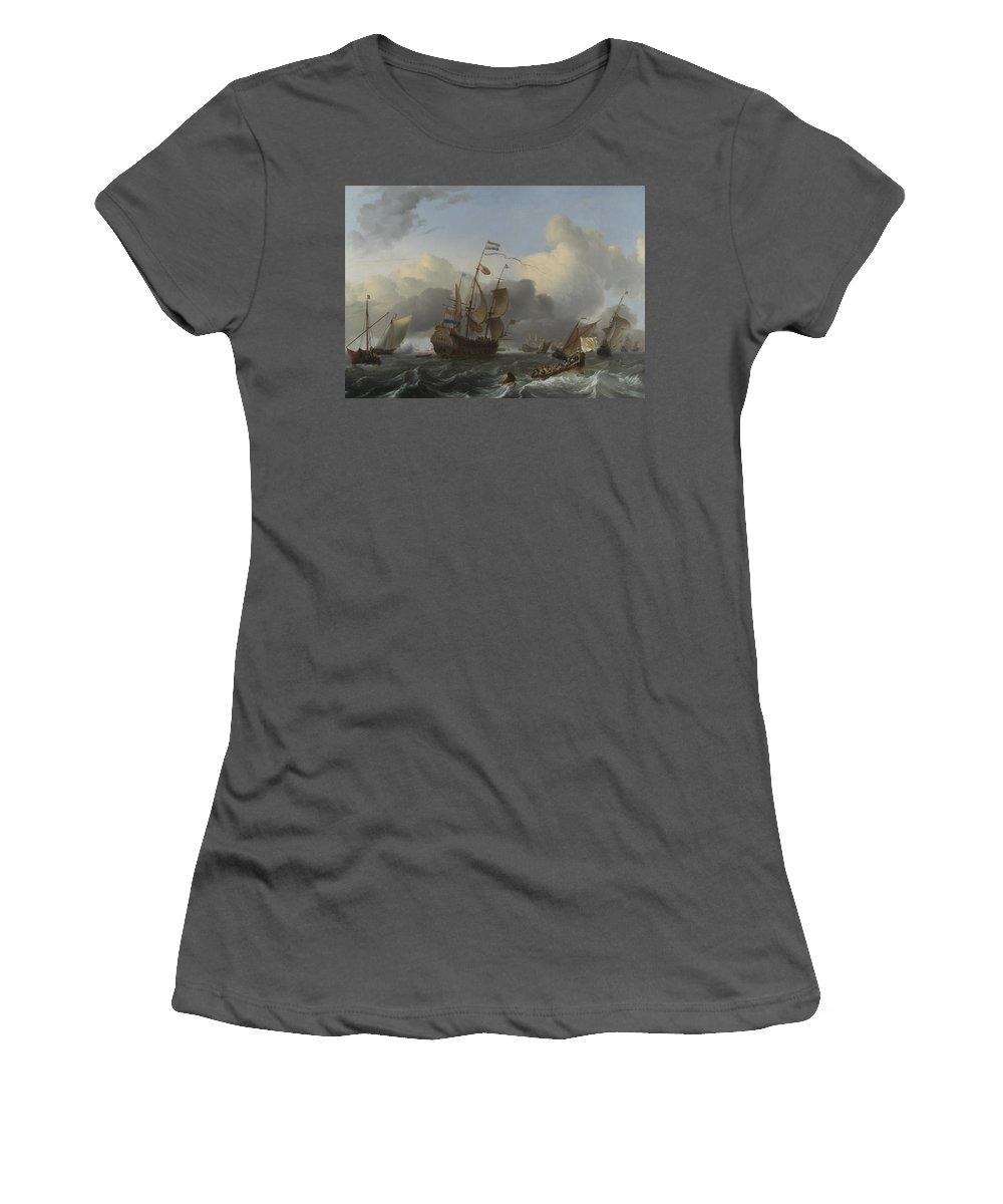 Ludolf Women's T-Shirt (Athletic Fit) featuring the digital art The Eendracht And A Fleet Of Dutch Men Of War by PixBreak Art