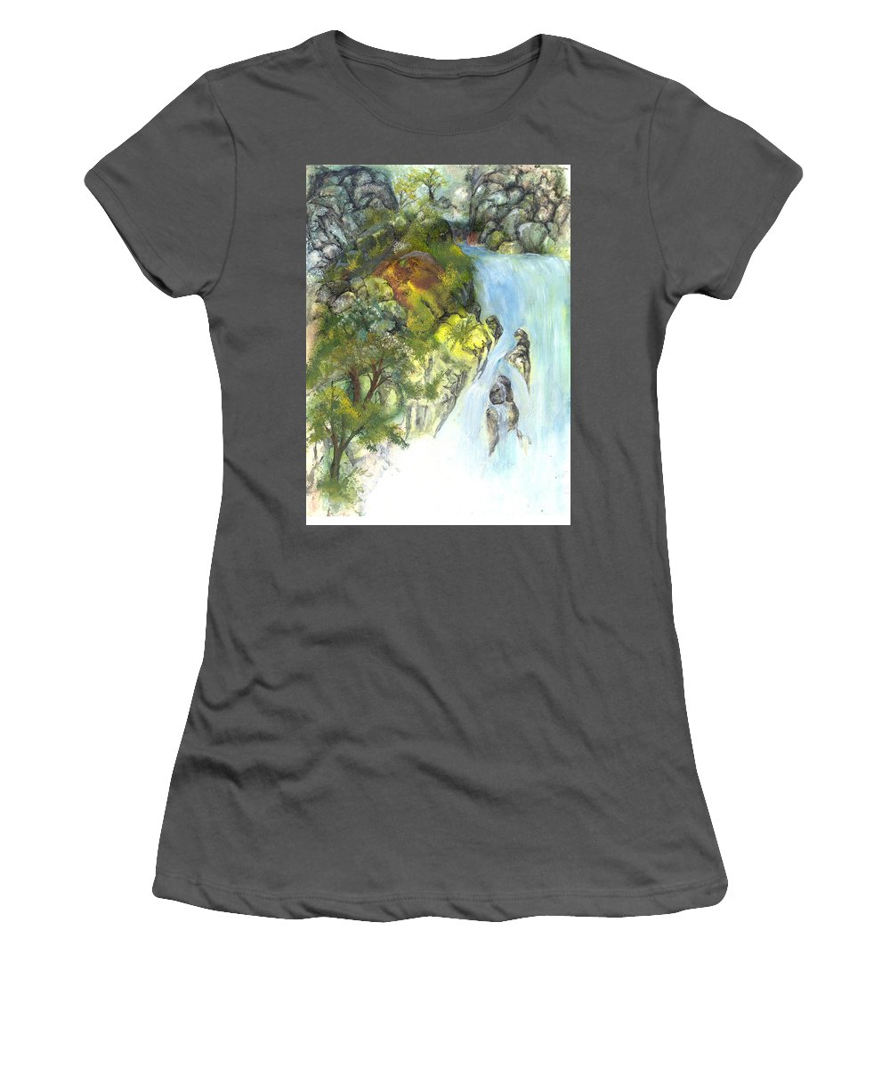 Waterfall Women's T-Shirt (Athletic Fit) featuring the painting The Falls by Sherry Shipley