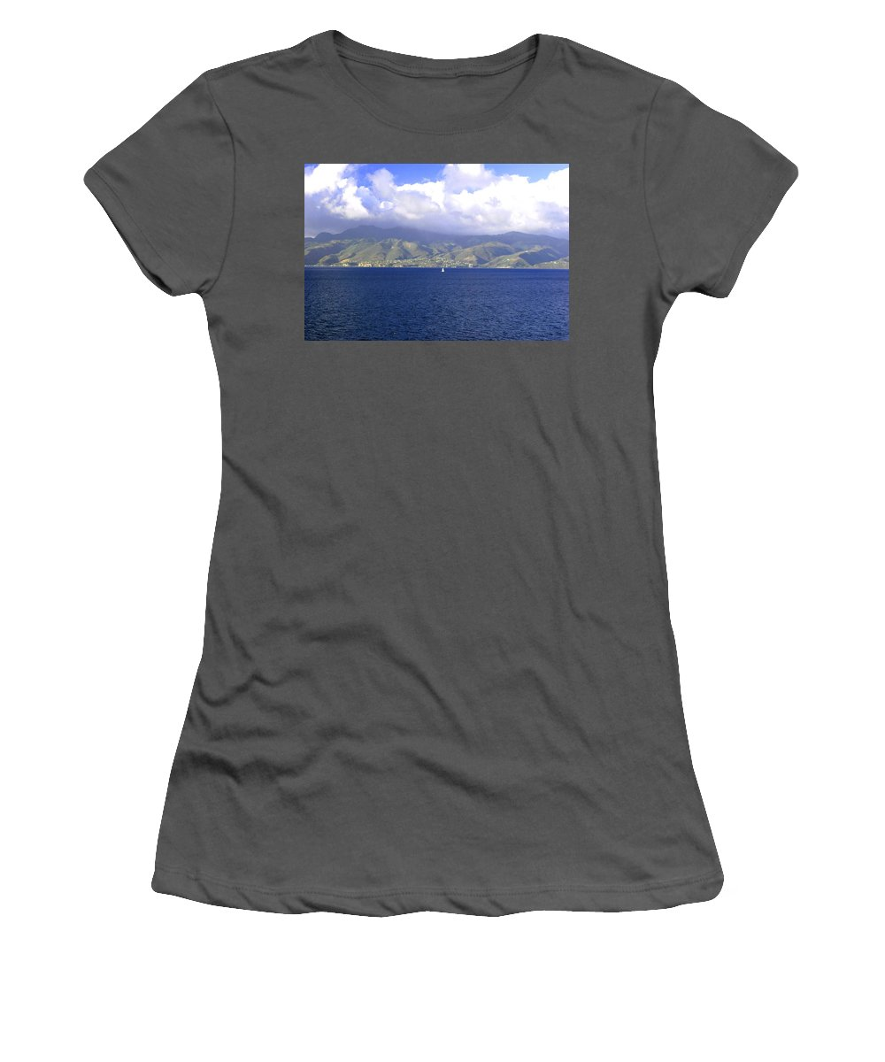 Clouds Women's T-Shirt (Athletic Fit) featuring the photograph The Fog Lifts by Gary Wonning