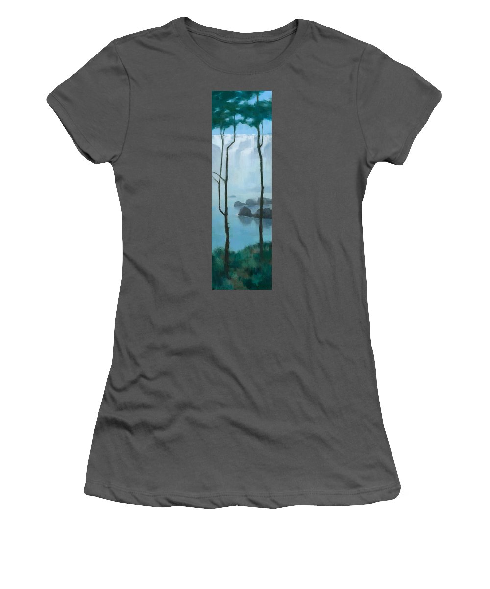 Original Women's T-Shirt (Athletic Fit) featuring the painting The Gathering Iguazu Falls by Steve Mitchell
