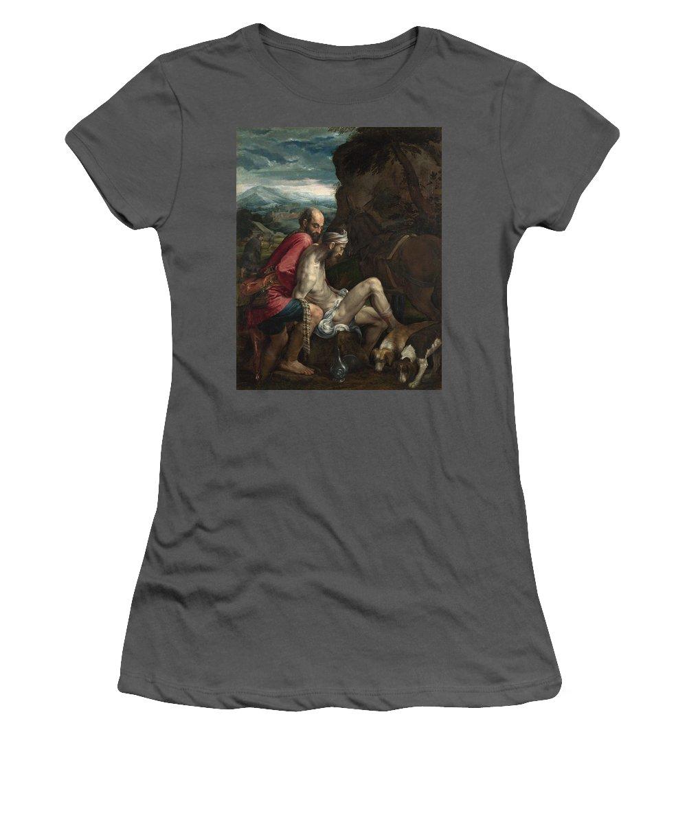 Jacopo Women's T-Shirt (Athletic Fit) featuring the digital art The Good Samaritan by PixBreak Art