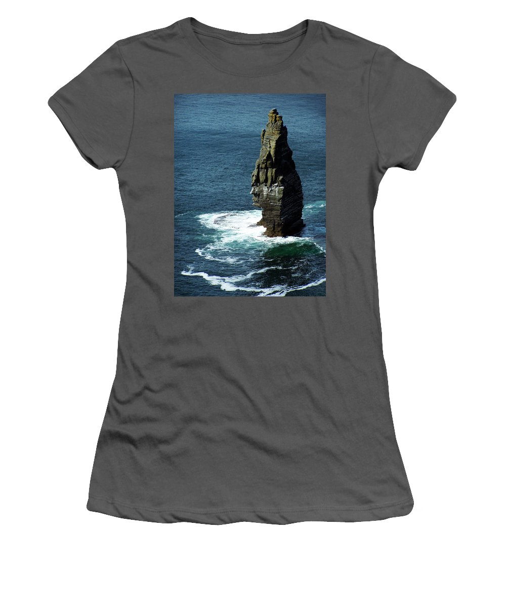 Irish Women's T-Shirt (Athletic Fit) featuring the photograph The Great Sea Stack Brananmore Cliffs Of Moher Ireland by Teresa Mucha