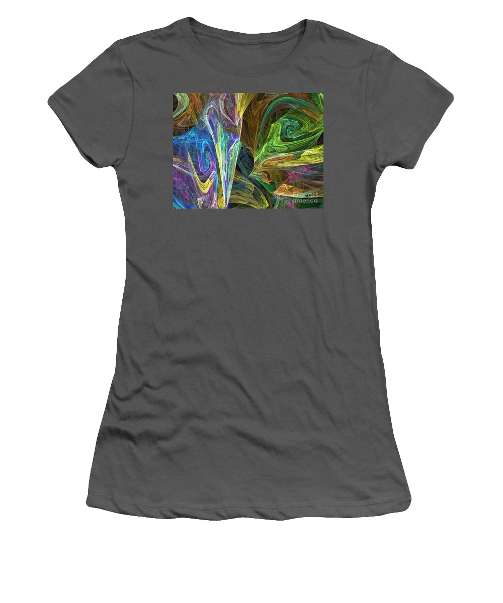 Fractals Women's T-Shirt (Athletic Fit) featuring the digital art The Groove by Richard Rizzo
