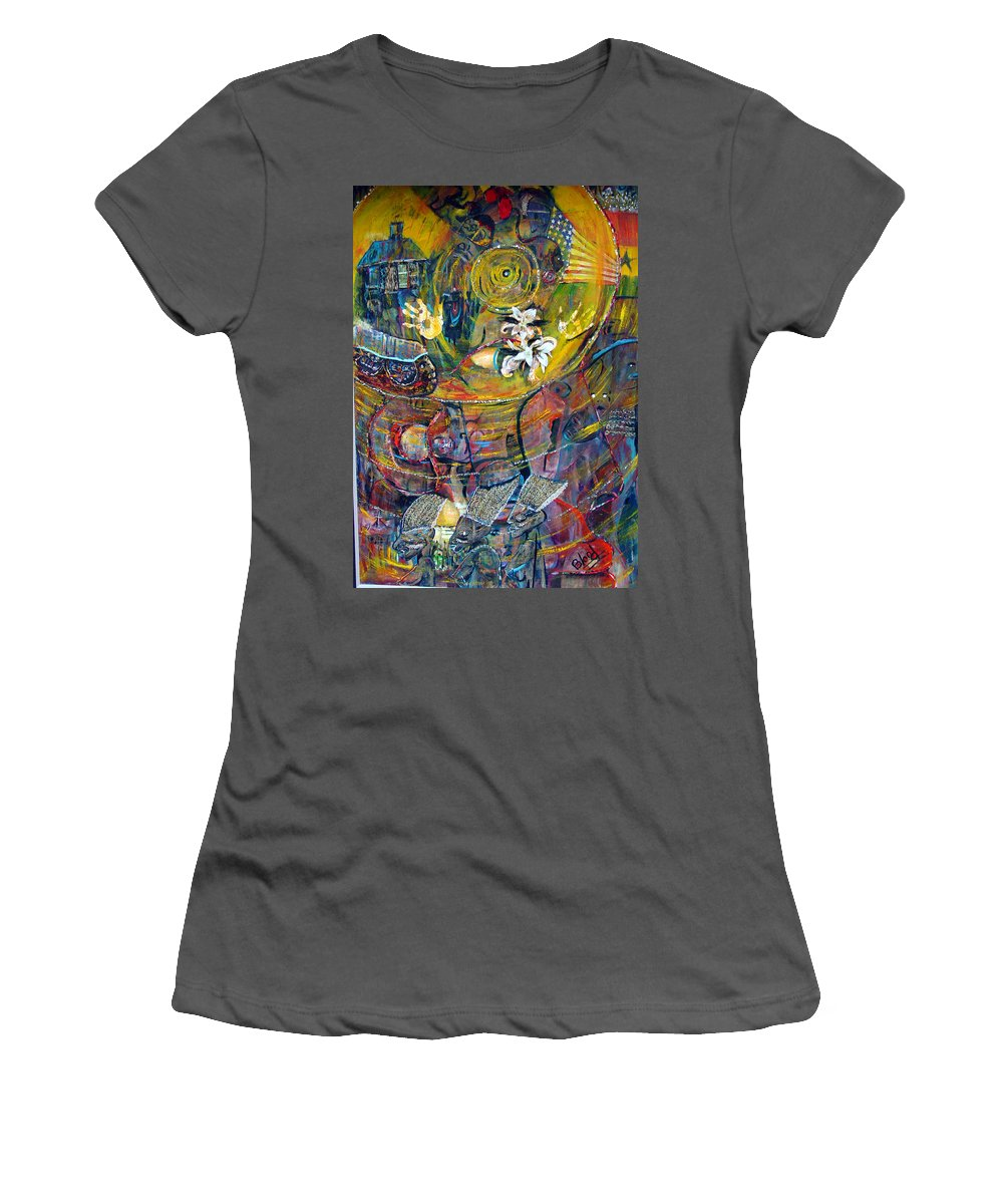 Figures Women's T-Shirt (Athletic Fit) featuring the painting The Journey by Peggy Blood