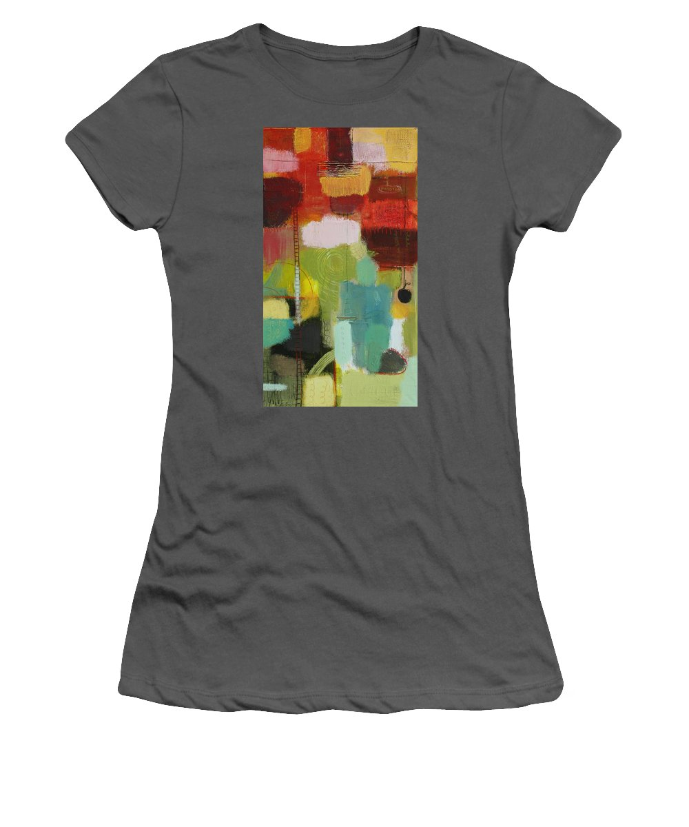 Abstract Women's T-Shirt (Athletic Fit) featuring the painting The Ladder Of Life by Habib Ayat