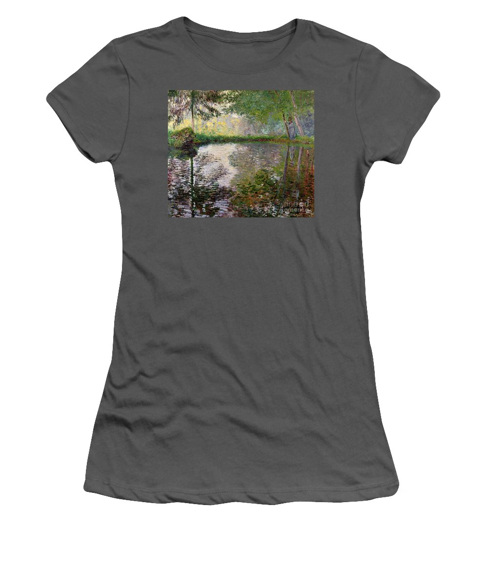 The Lake At Montgeron By Claude Monet (1840-1926) Women's T-Shirt (Athletic Fit) featuring the painting The Lake At Montgeron by Claude Monet