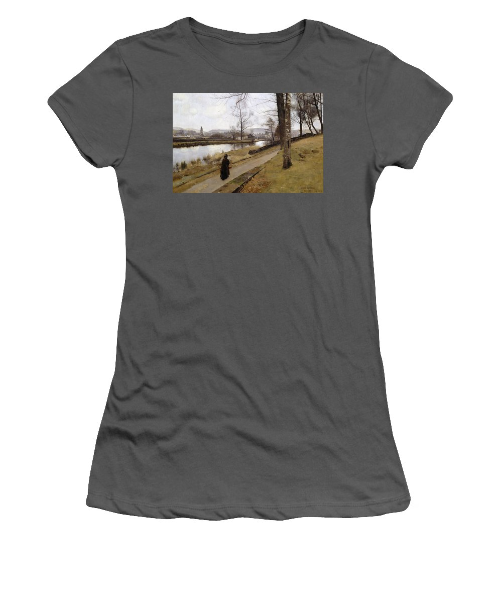 The Last Turning Women's T-Shirt (Athletic Fit) featuring the painting The Last Turning by James Paterson