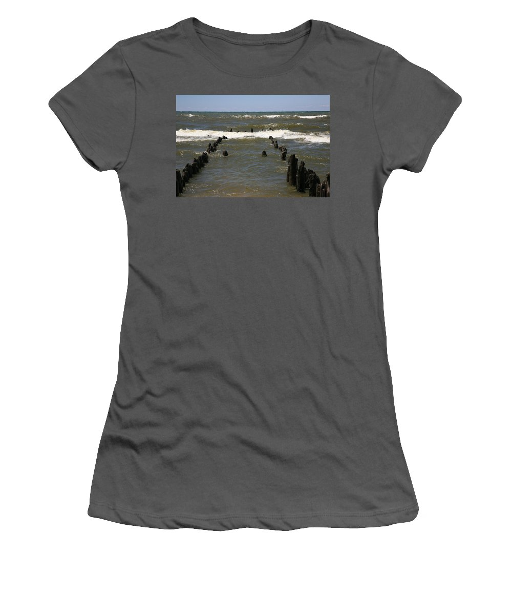 Sand Surf Women's T-Shirt (Athletic Fit) featuring the photograph The Last Wooden Pier by Robert Pearson