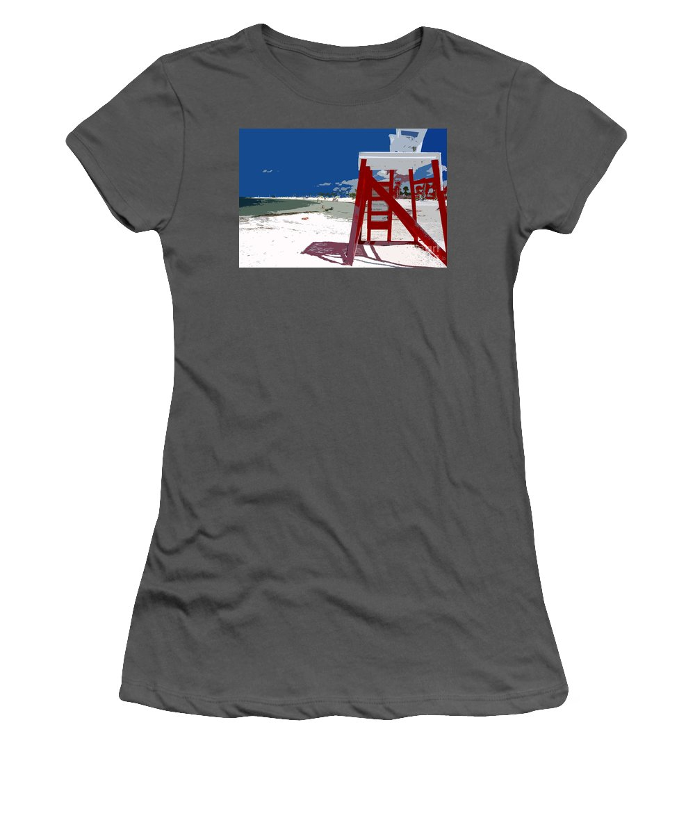 Lifeguard Stand Women's T-Shirt (Athletic Fit) featuring the painting The Lifeguard Stand by David Lee Thompson