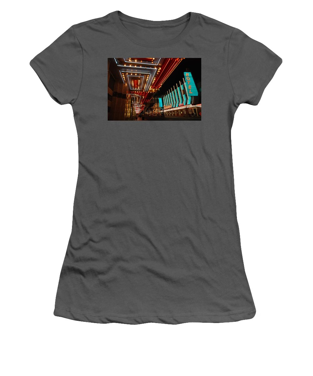 Photography Women's T-Shirt (Athletic Fit) featuring the photograph The Lights Are On In Las Vegas by Susanne Van Hulst