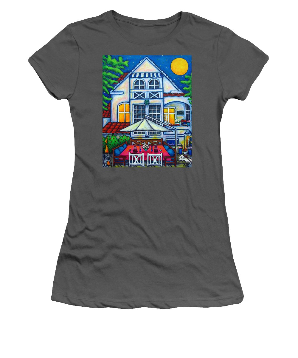 Denmark Women's T-Shirt (Athletic Fit) featuring the painting The Little Festive Danish House by Lisa Lorenz