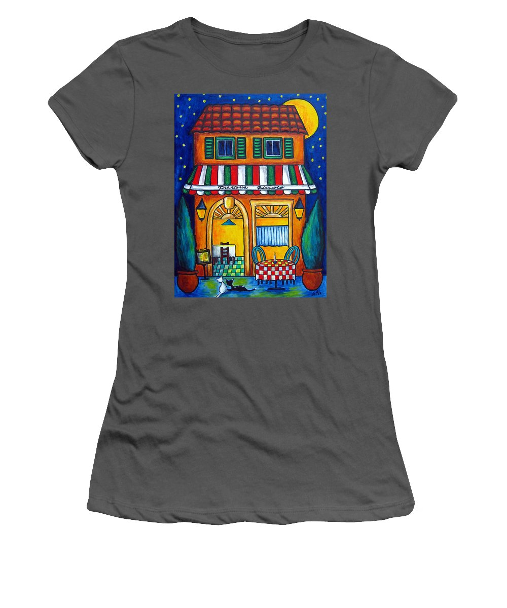 Blue Women's T-Shirt (Athletic Fit) featuring the painting The Little Trattoria by Lisa Lorenz