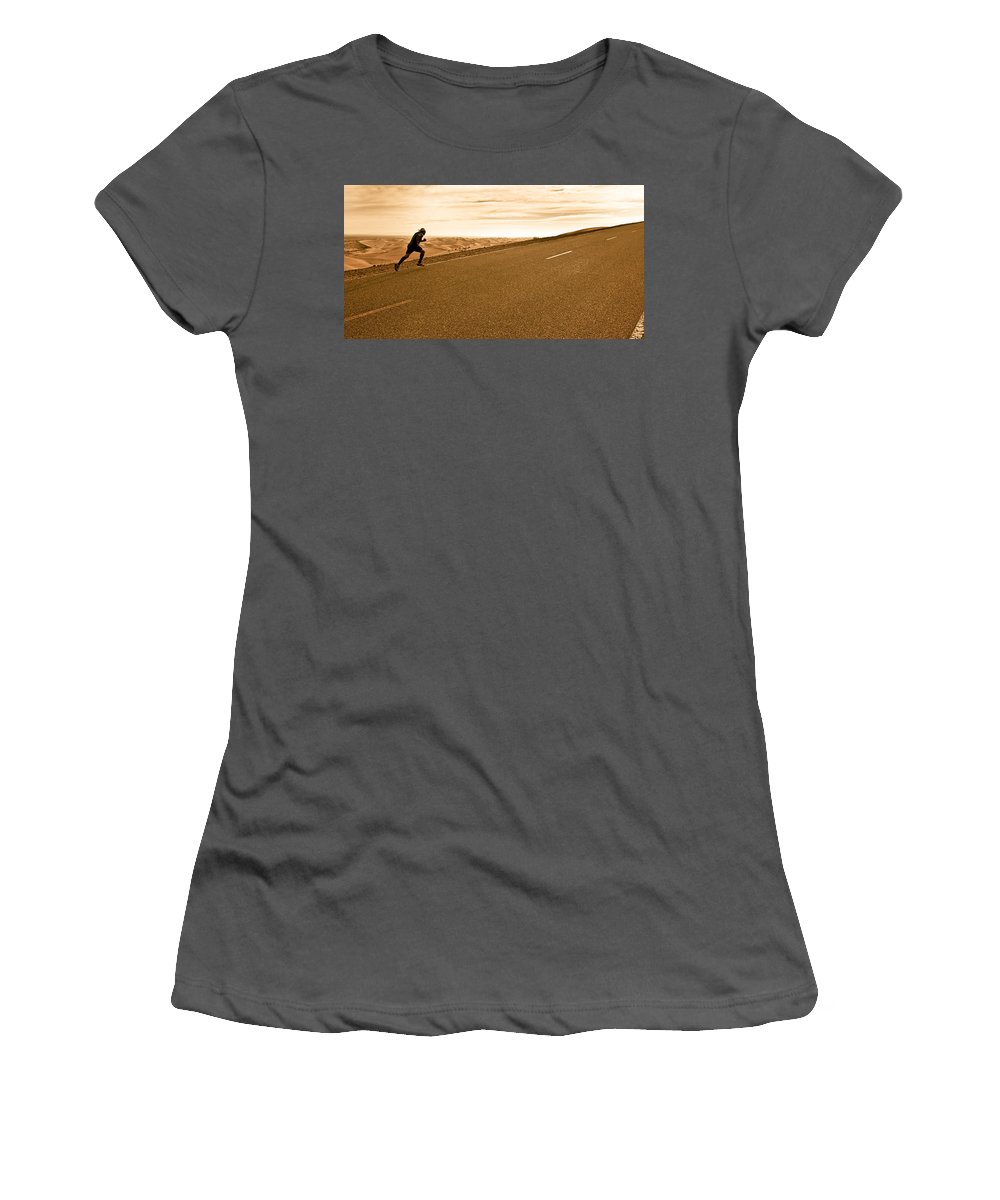 Run Women's T-Shirt (Athletic Fit) featuring the photograph The Long Road by Scott Sawyer
