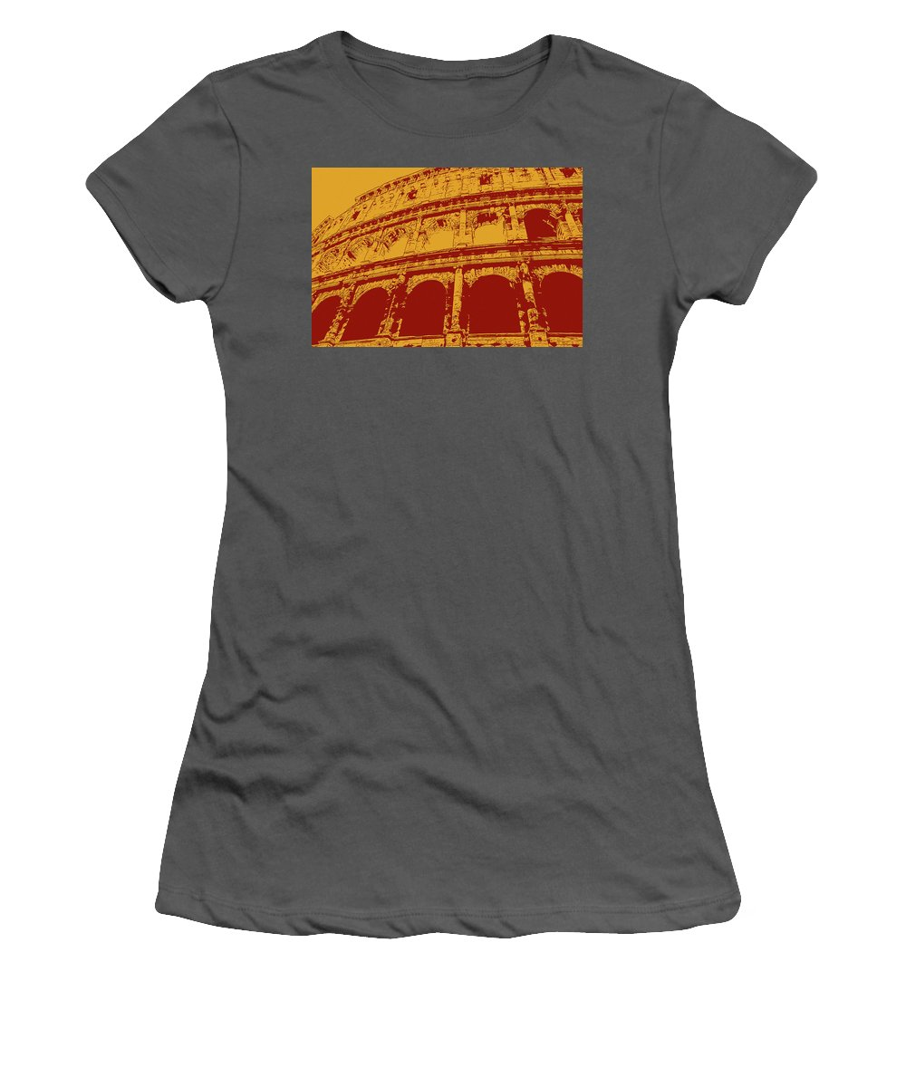 Roman Women's T-Shirt (Athletic Fit) featuring the painting The Majestic Colosseum Of Rome by Andrea Mazzocchetti