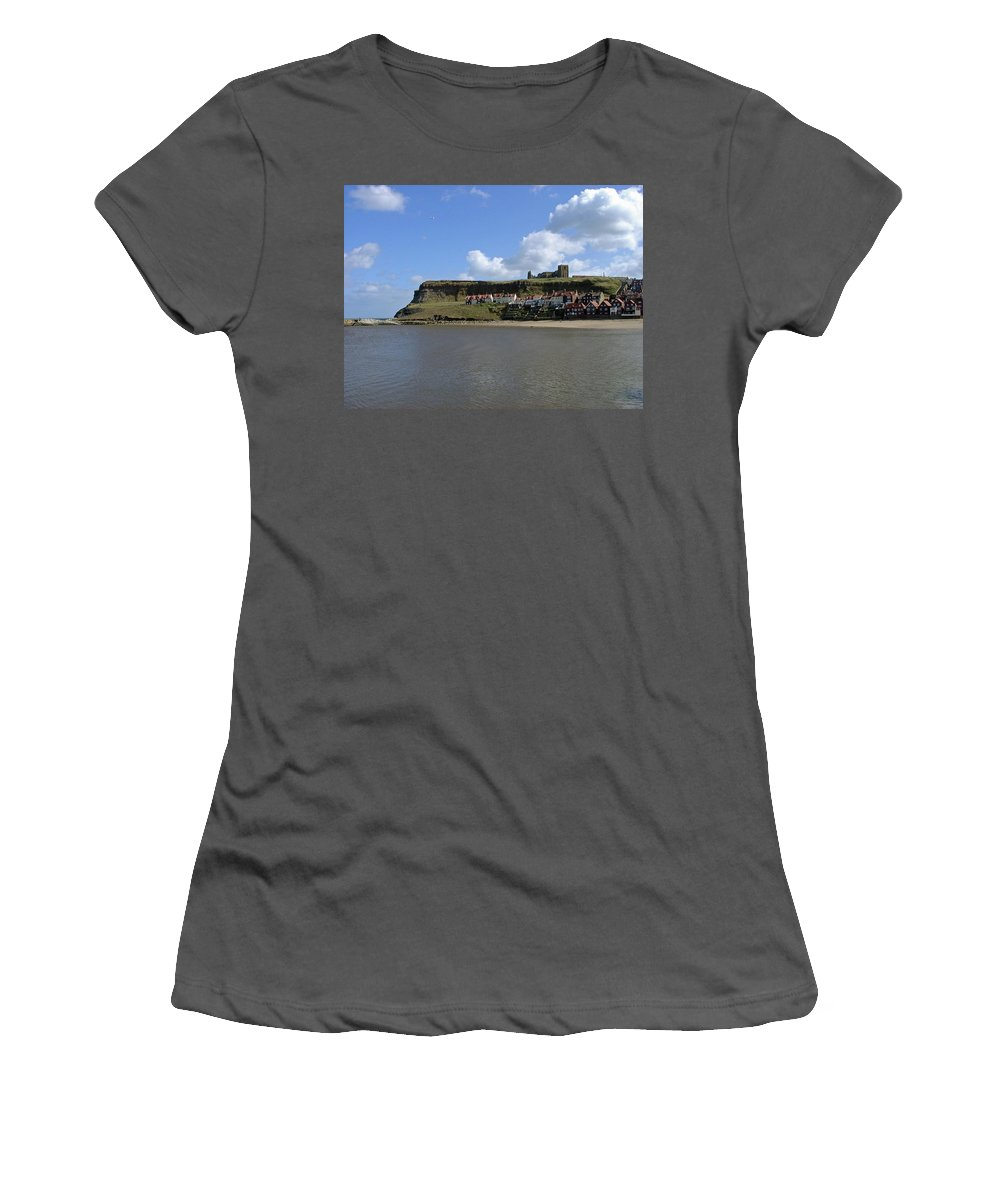Whitby Abbey Women's T-Shirt (Athletic Fit) featuring the photograph The Majestic East Cliff by Rod Johnson