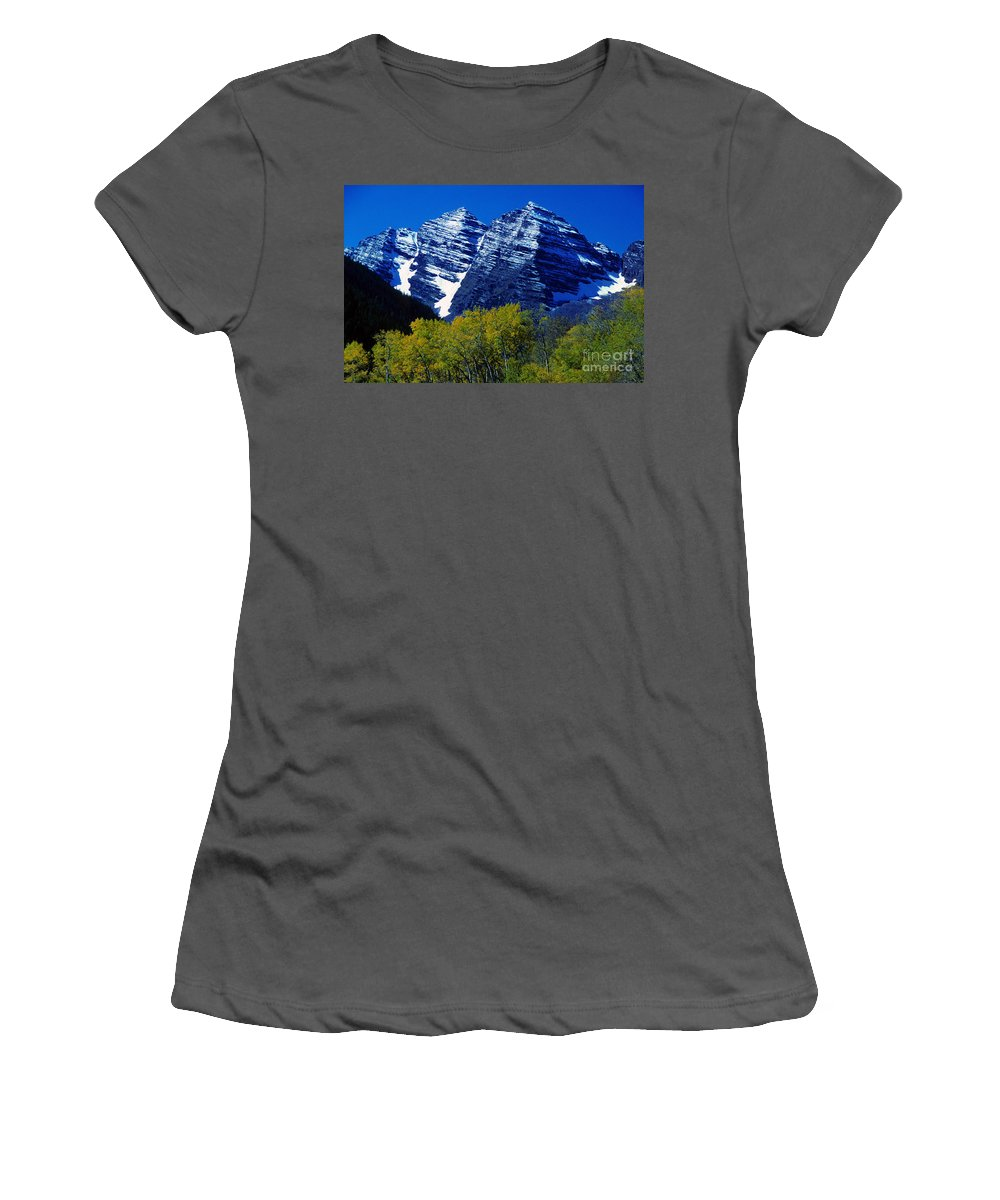 Aspen; Autumn; Maroon Bells; Colorful; Blue; Sky; Yellow; Nature; Landscape; Snow; Mountains; Colorado; Rocky Mountains; Photography; Stock; Images; Photo; Prints; Posters; Greeting Cards Women's T-Shirt (Athletic Fit) featuring the photograph The Maroon Bells Aspen Colorado by James BO Insogna