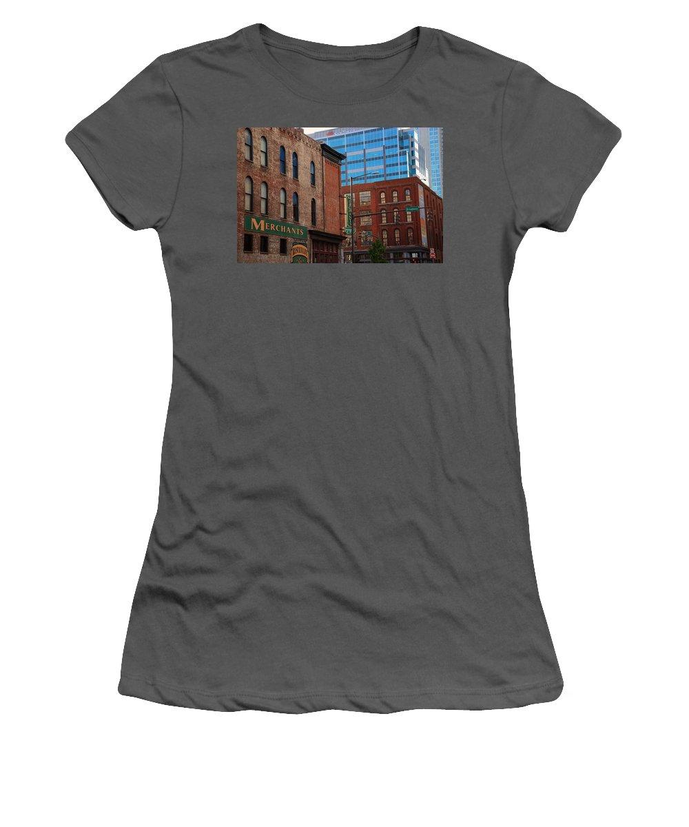 The Merchants Women's T-Shirt (Athletic Fit) featuring the photograph The Merchants Nashville by Susanne Van Hulst