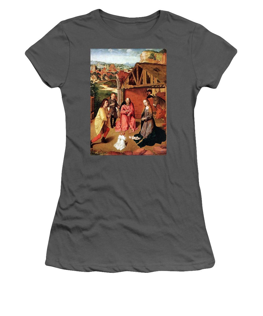 Nativity Women's T-Shirt (Athletic Fit) featuring the painting The Nativity By Gerard David by Munir Alawi